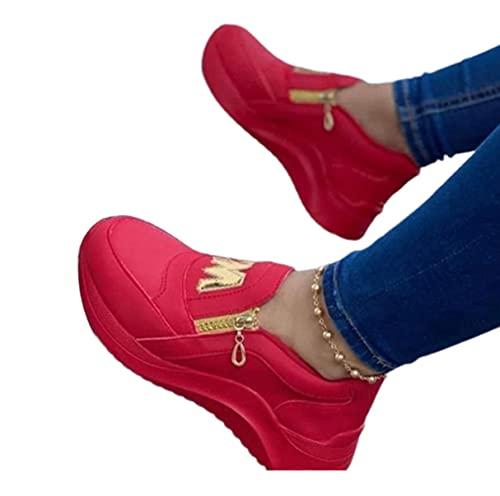 ZQ&QY Donne da Donna Scarpe da Ginnastica da Donna Tacco Sneaker per Sneakers Sneakers Footwear35-43red, Viola, Nero,Rosso,35