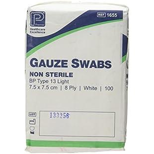C&P MEDICAL 7.5 cm x 7.5 cm Gauze Swabs - Pack of 100