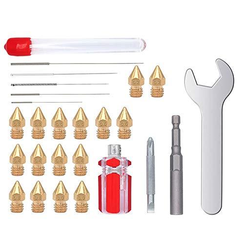 16 boquillas de impresora 3D MK8 extrusora de 0,4 mm, 4 unidades, 0,2 mm, 0,3 mm, 0,5 mm, 0,6 mm, 0,8 mm, 1,0 mm cada 2 unidades, con 5 agujas de acero y llave inglesa.