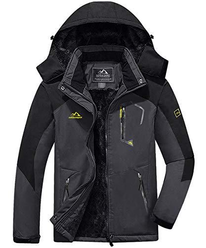 KEFITEVD - Giacca da sci da uomo, traspirante, calda foderata, con cappuccio rimovibile, impermeabile grigio/nero L