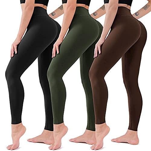 ACTINPUT Mallas Mujer Fitness Leggins Deportivas Yoga Fitness Suaves Elásticos Cintura Alta para Reducir Vientre (3 Piezas (Negro + Verde Militar + Marrón), XL-3XL)