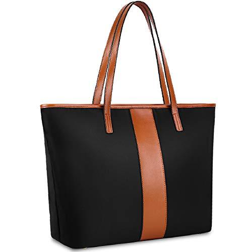 YALUXE Women Nylon Genuine Leather Shoulder Bag Lightweight Tote Bag Top Handle Bag Casual Handbag - Brown&Black