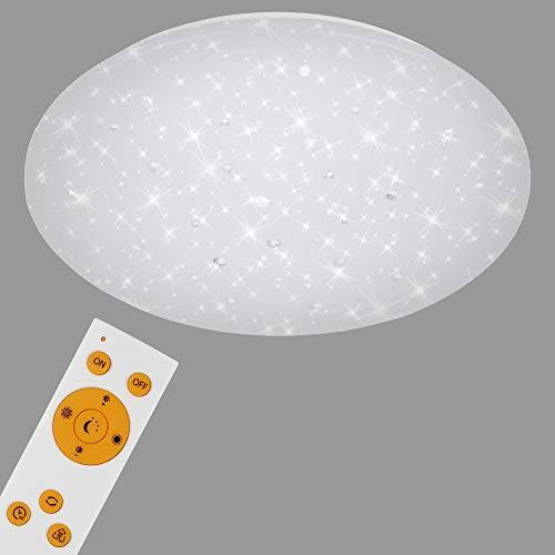 Briloner Leuchten - LED Deckenleuchte, Deckenlampe mit Sternendekor & Kristallen, Dimmbar, Farbtemperatursteuerung, inkl. Fernbedienung, inkl. Nachtlichtfunktion, 22 Watt, 2.200 Lumen, Weiß, Ø 39cm