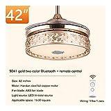 Inicio de techo Cocina Sala de estar Ventilador Luces Luz de la música LED Bluetooth luz de techo con Bluetooth oro ramita Jade Hoja de Bluetooth de techo con luz (Blade Color : APP remote control)