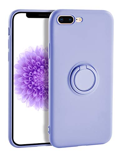 Yoopake iPhone 8 Plus Case Silicone iPhone 7 Plus Case, Liquid Silicone Case with Ring Holder Kickstand Work with Magnetic Car Mount Shockproof Soft Slim Fit Phone Cover Case for Apple 7 Plus,Purple