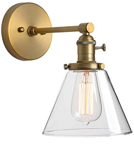 WEM Lámpara de pared de la novedad, vidrio retro industrial E27 (con interruptor) ¿Ger de la chapa de latón? T para el baño de la sala de estar
