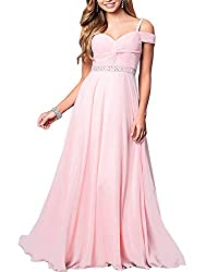 Pink Blue Formal Bridesmaid Sleeveless Gown With Rhinestones