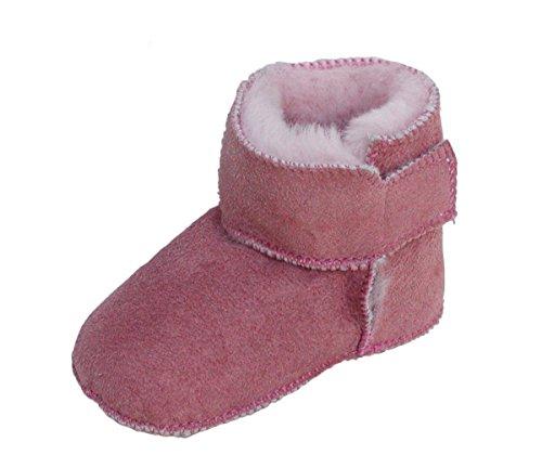 HEITMANN warme Baby Lammfell Boots mit Klettverschluss rosa, Gerbung ohne schädliche Stoffe, Gr. 16-17