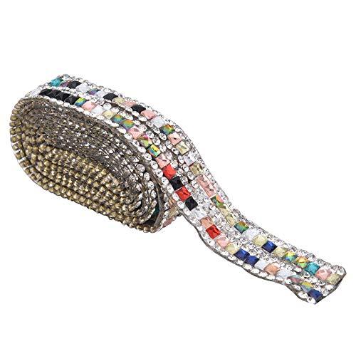 HEEPDD Cadena de Diamantes de imitación de Cristal, Coser en Cadena de Diamantes de imitación Cadena de Copa Cadena de Cierre de Diamantes de imitación de Cristal Colorido Cadena de Garra(Style C)