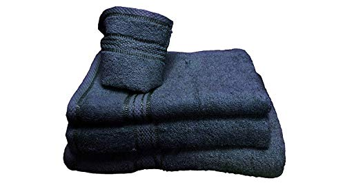 Comfy Decor Lot de 6 gants de toilette de luxe 100 % coton égyptien 30 x 30 cm bleu marine