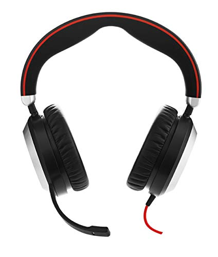 Jabra Evolve 80 MS Wired Headset Professional Telephone Headphones with Unrivalled Noise Cancellation for Calls and Music, Features World Class Speakers and All Day Comfort