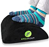 ErgoFoam Ergonomic Foot Rest Under Desk | Premium Velvet Soft Foam Footrest for Desk | Most Comfortable Desk Foot Rest in The World for Lumbar, Back, Knee Pain | Foot Stool Rocker (Black)
