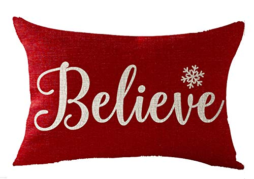 FELENIW Happy Winter Snowflakes Believe Merry Christmas Throw Pillow Cover Cushion Case Cotton Linen Material Decorative Lumbar 12X20 inches