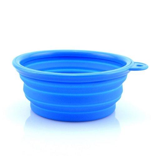 HuaYang chien portable en silicone pliable camping d'eau?/voyage bol alimentaire(Blue)