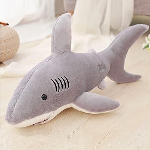 KXCAQ 50-130cm Tiburones de Peluche Gigantes Juguetes Animales de Peluche simulación pez muñeca Almohadas cojín niños para niños Regalos de cumpleaños 130cm Gris