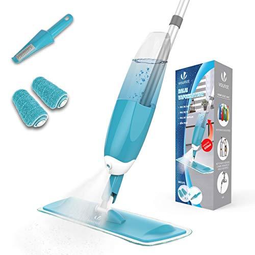 VOUNOT Mopa Spray, Mopa con Pulverizador, Fregona con Vaporizador, con 2 Almohadilla de Microfibra y 1 Rasqueta de Ducha, 650ml, Azul