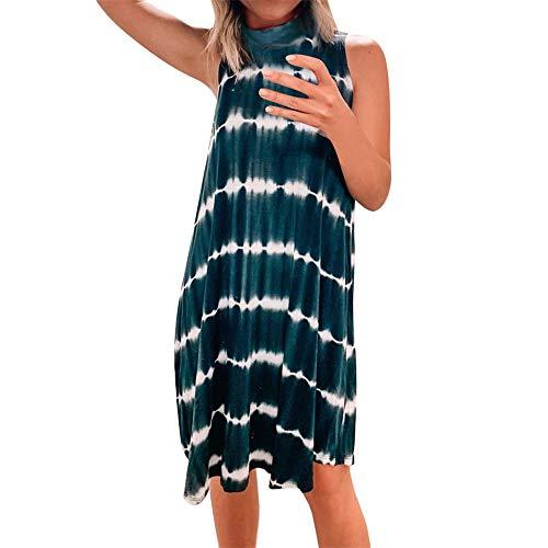 TWIFER Damen Tie Dye Kleider Sommer Gestreiftes Kleid Casual Sommerkleid Ärmellose Lässige Freizeitkleid Bequeme Midikleid