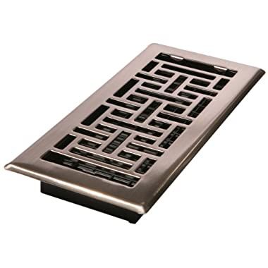 Decor Grates AJH410-NKL 4-Inch by 10-Inch Oriental Floor Register, Brushed Nickel