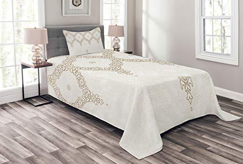 ABAKUHAUS marokkanisch Tagesdecke Set, Eastern Element Creme, Set mit Kissenbezügen Waschbar, für Einzelbetten 170 x 220 cm, Kamel Weiß