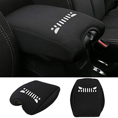 Car Front Grill Logo Neoprene Center Console Armrest Pad Cover with Dog Paw Paws Print Logo for Jeep Wrangler JK Sahara Sport Rubicon X & Unlimited 2011-2016.(Black) (je-ep Grill)