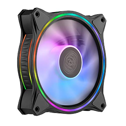 Cooler Master MasterFan MF120 Halo Duo-Ring Addressable RGB Lighting 120mm Fan, Absorbing Rubber Pads, PWM Static Pressure for 5V 3-Pin ARGB,NOT Work with 4-pin RGB or Standard RGB+12V(MF120 Halo)