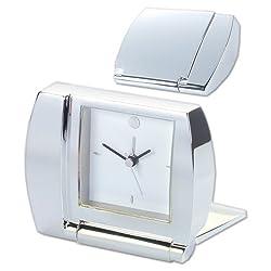 Natico Folding Silver Alarm Clock (10-1365)