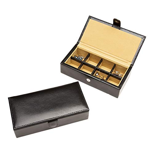Cuff-Daddy 8 Pair Leather Travel Cufflinks and Rings Storage Box Case Unique Design Cufflinks Luxury Display Jewelry Case Storage Special Occasions Cuff Links Travel Jewelry Box Anniversaries