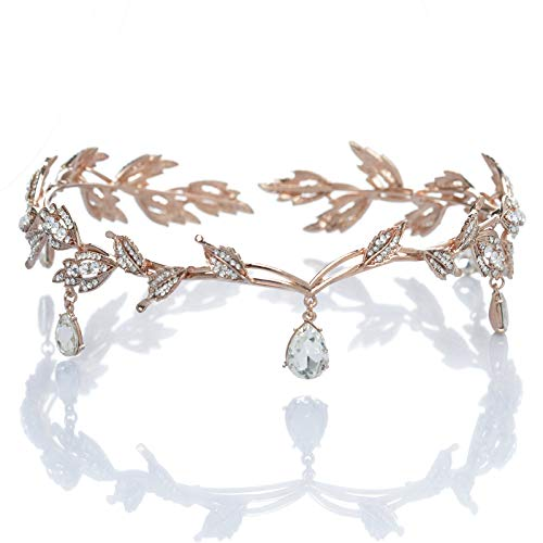 SWEETV Tiaras and Crowns for Women, Wedding Tiara for Bride, Elf Cosplay Crown, Leaf Fairy Costume Headband, Princess Hair Accessories for Prom Photoshoot Halloween, Rose Gold