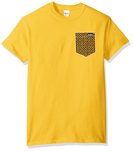 New World Graphics NCAA Alabama State Hornets Faux Pocket Short Sleeve, Medium, Gold