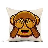 N\A Throw Pillow Cover Emoticon Cartoon Cute Monkey Face Ojos Cerrados Animal Asian Pillowcase Home Decor Square Algodón Lino Funda de Almohada Funda de cojín