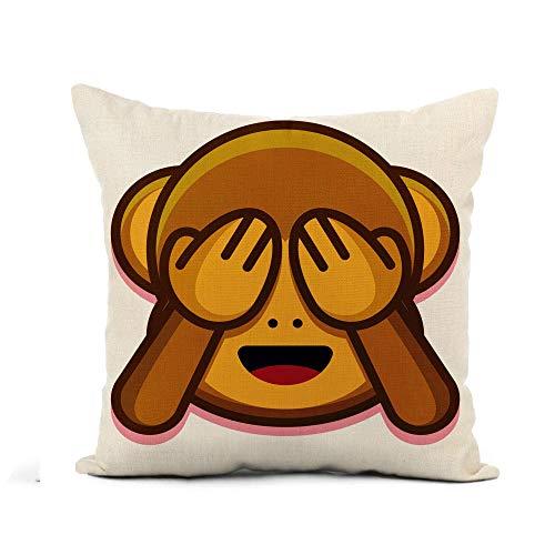 phjyjyeu Funda de almohada de lino con diseño de emoticono de caricatura, diseño de mono, ojos cerrados, animales, asiáticos, 45,7 x 40,6 cm, funda de cojín cuadrada de algodón y lino, 40,6 x 40,6 cm