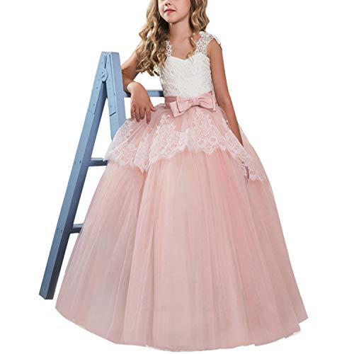 TTYAOVO Mädchen Blume Brautkleider Spitze Prinzessin Pageant Kleid Prom Ballkleid Größe (130) 386 Rosa 6-7 Jahre