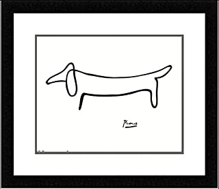 buyartforless FRAMED The Dog (Le Chien) Drawing by Pablo Picasso 14x11 Art Print Poster Double Mat
