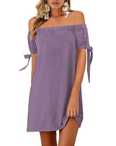 YOINS Vestido de mujer con hombros descubiertos sexy sólido de manga corta mini vestidos de verano Top túnica camiseta vestidos, Hombro frío ~ púrpura, Small