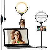 Selfie Ring Light for Laptop Computer,Yoozon LED Desk Ring Light with Adjustable Phone Holder&Metal Stand for Video Conference Lighting,Zoom Call Meeting,Webcam Chat,Makeup,Live Streaming,YouTube