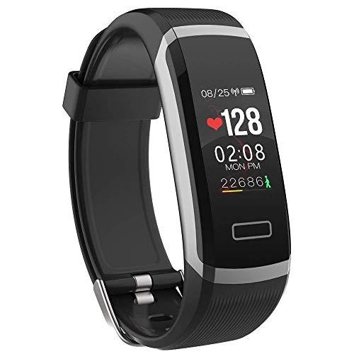 Oyznsb polshorloge, kleurendisplay, intelligente horloges, smartwatch, voor mannen, vrouwen, meisjes, TicWatch, sport, fitness, tracker, waterdicht, black silver edge