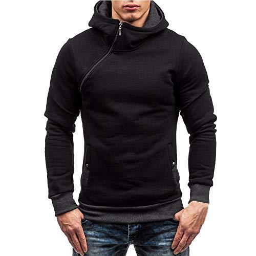 Sweatshirt Homme,Honestyi Sweat-Shirt à Capuche Manches Longues Sweats Manteau d'usure Tops Jacket Couleur Unie Casual Zip Hoodies Pas Cher Simple Affaires Vêtements pour Automne Hiver