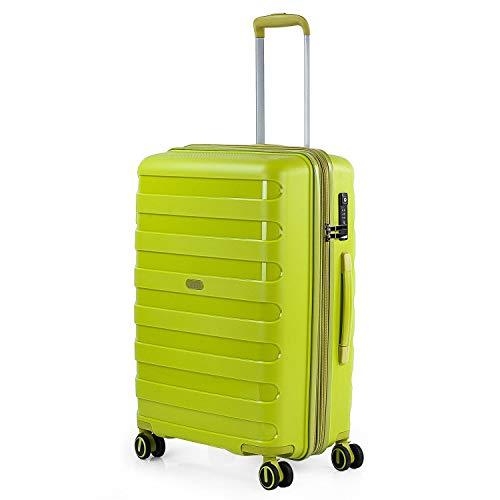 JASLEN - Maleta de Viaje Mediana Trolley Marca jaslen tamaño 60 Fabricada con Polipropileno, un Material y a la Vez candado TSA 4 Ruedas Dobles 161260, Color Lima
