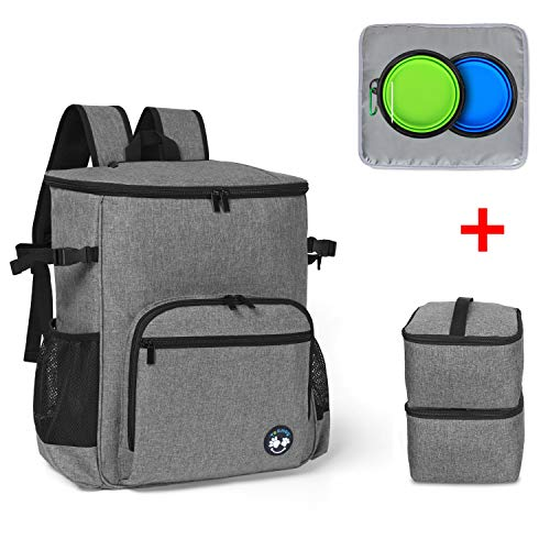 Teamoy Dog Travel Backpack, Pet Supplies Weekend Organizer with 2 Silicone Collapsible Bowls, 2 Food Carrier, 1 Water-Resistant Placemat, Gray