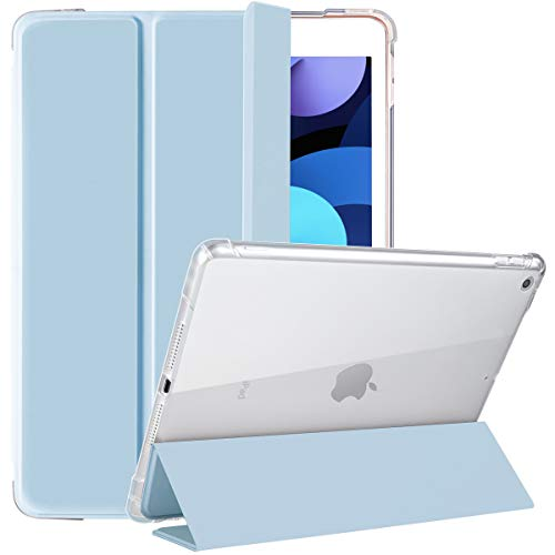 SIWENGDE Compatible for Apple iPad 8th/7th Generation Case with Pencil Holder,iPad 10.2 Inch Case 2019 for Kids,Slim Soft Silicone Smart Trifold Stand Protective Cover Cases (Light Blue/Clear)