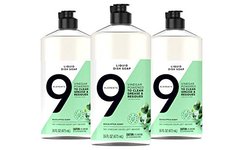 9 Elements Dishwashing Liquid Dish Soap, Eucalyptus Scent Cleaner, 16 oz Bottles (Pack of 3)