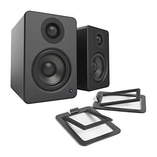 Kanto YU2 Powered Desktop Speakers (Matte Black) with S2 Desktop Stands (Black)
