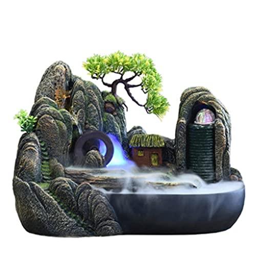 WYDA Fuentes de Mesa Fuente de la Mesa con Luces LED - Rock Falls Caída de la Cascada Interior - Sonido de Agua calmante y Relajante - Fuentes de Interior Fuente de Escritorio (Color : No Atomizer)