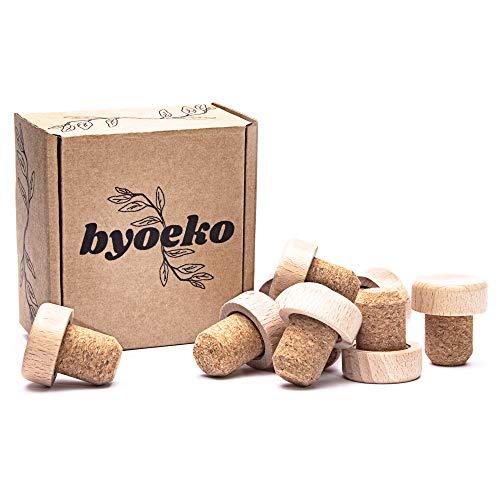 Byoeko Tapones de Corcho Natural con Cabeza de Madera para Botellas de Vino, aceites, Bebidas o líquidos, 10 Unidades (Marron Beige Natural)