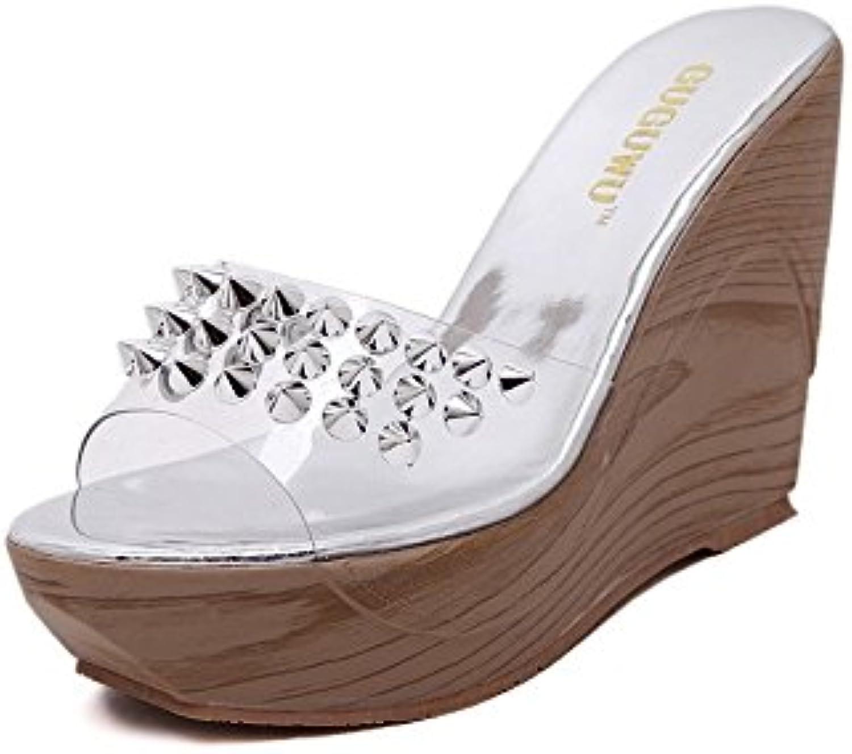 WYMBS Women's Summer Slingback PU Casual Chunky Heel fish mouth Block Heel Rhinestones Sandals ,silver,36