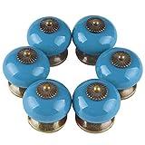 Larcele CTLS-01 - Pomo de cerámica para cajón (6 unidades), diseño vintage, color azul