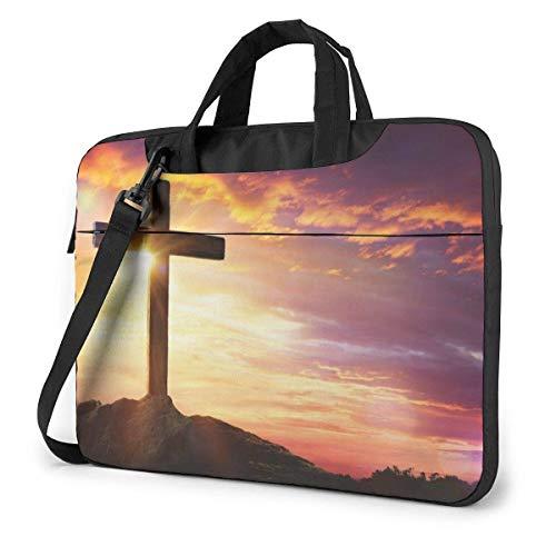 Laptop-Tasche Christian Cross im Sonnenuntergang Laptop Schulter Umhängetasche, Notebook-Hülle Tragetasche mit Trolley-Gürtel Passend für Laptops/Notebook/E-Books/Kinder-Tablet/iPad 15.6 inch