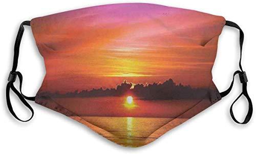 Moda cómoda y resistente al viento, romántica puesta de sol en la playa, rayos de sol reflexión en el mar, colorido cielo imagen, decoraciones faciales impresas para unisex M