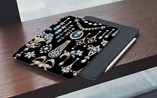 MEMETARO Funda para iPad 10.2 Pulgadas,2019/2020 Modelo, 7ª / 8ª generación,Joyas Preciosas Pendientes Collar Colgantes Lujo Diamante Perla Tesoro, Smart Leather Stand Cover with Auto Wake/Sle