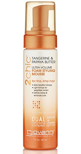 GIOVANNI 2chic Ultra Volume Foam Styling Mousse, 7 oz. Daily Volumizing Formula with Papaya & Tangerine Butter, Promotes Weightless Control for Fine Limp Thin Hair, No Parabens, Color Safe (Pack of 1)